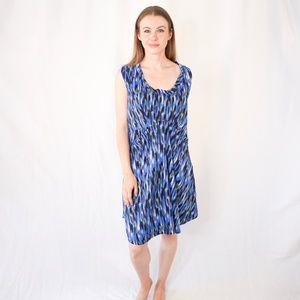 THAKOON ADDITION Blue Black Brushstroke Mini Dress